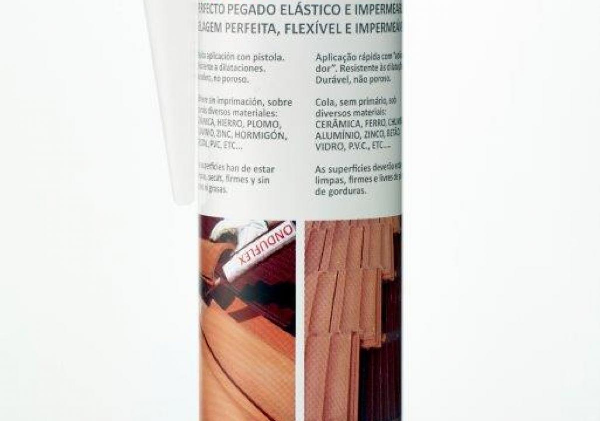 Masilla poliuretano pegado tejas ONDUFLEX - detalle bote masilla