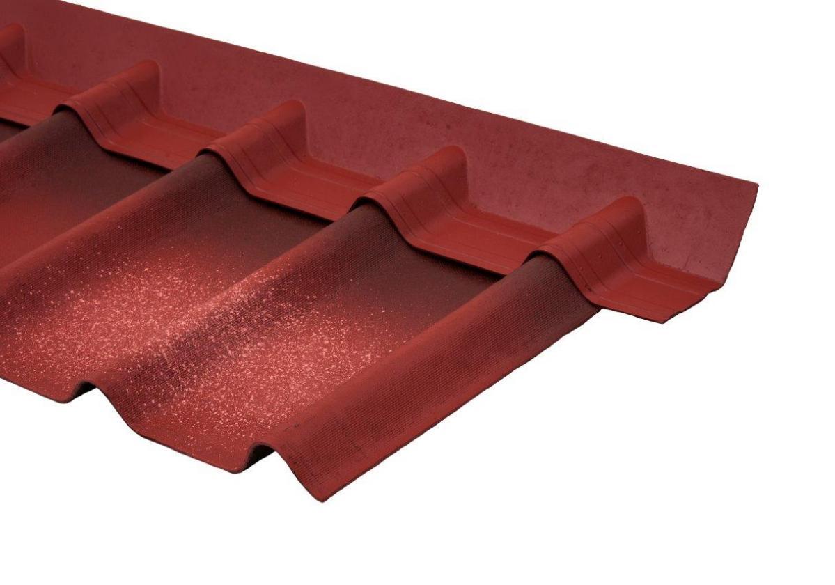 Remate pendiente teja asfáltica ligera ONDUVILLA - detalle instalación pieza remate color rojo sobre teja