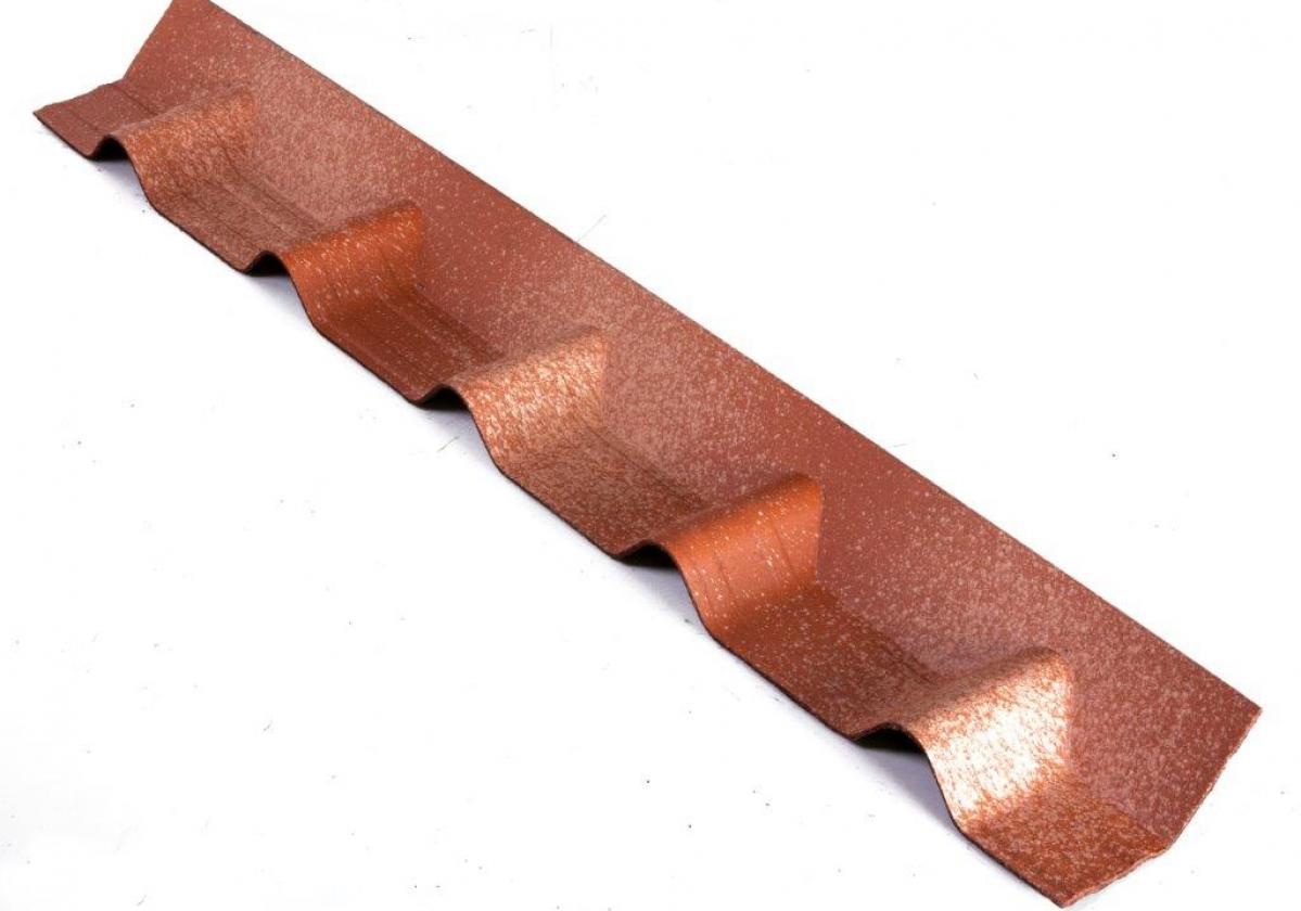 Remate pendiente teja asfáltica ligera ONDUVILLA - detalle pieza remate color fiorentino