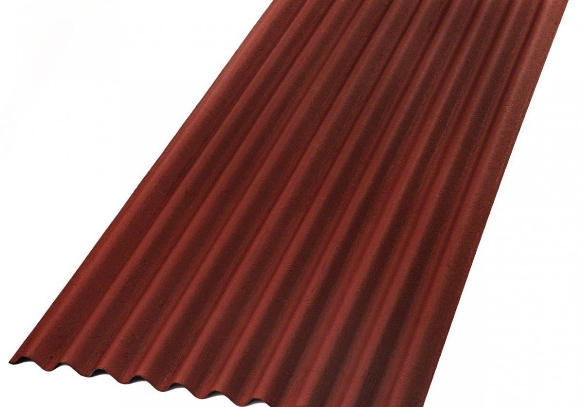 Placa bituminosa, ondulada e impermeable, ONDUCOBER color rojo